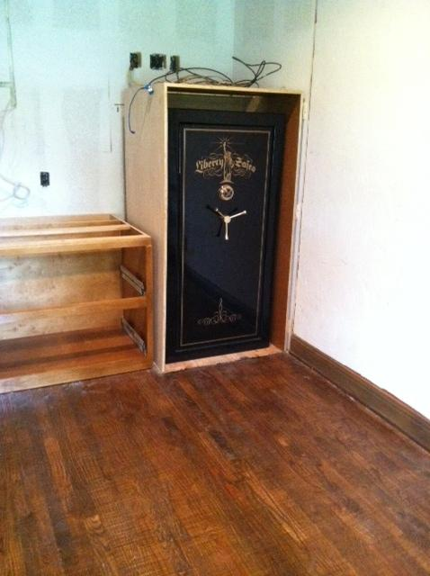 Liberty gun safe placed inside a cabinet tarrant county for Custom home safes