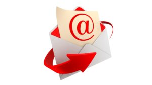 Open envelope with letter with large @ symbol