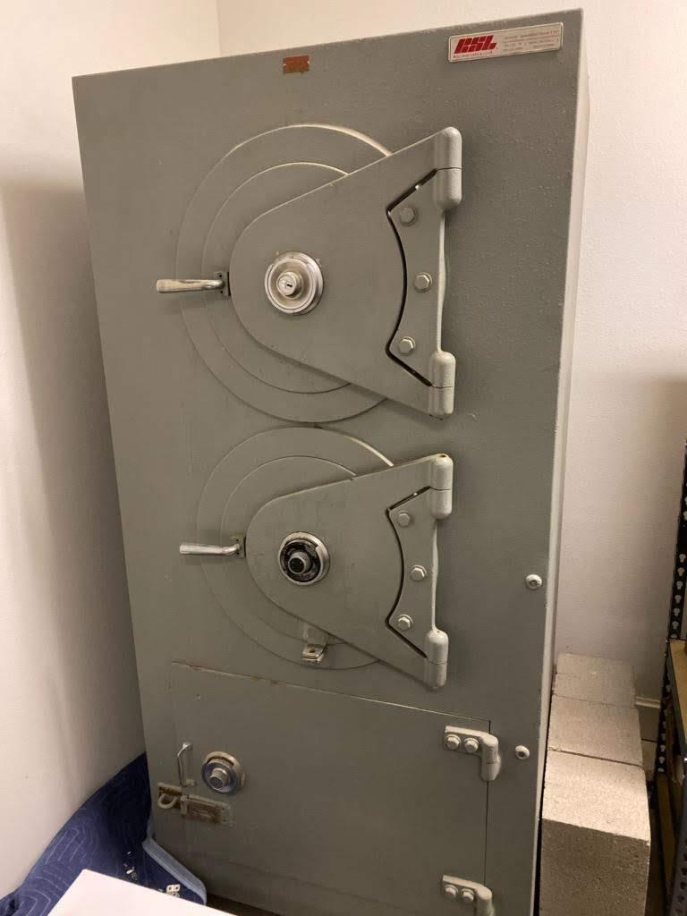 Inside top safe showing internal drop chute